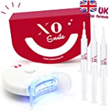Teeth Whitening Kit by XO Smile - White Teeth in 10 Minutes - 3 Gels, 1 Led Light, 1 Mouth Tray - No Peroxide - 100% Effect - Cruelty Free - UK Dentists Formula