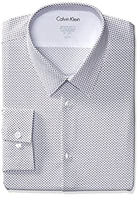 Calvin Klein Men's Stretch Xtreme Slim Fit Print Point Collar Dress Shirt