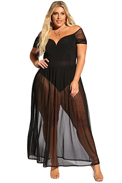 fc7835da9a AlineMyer Plus Size Sexy Sheer Sleeves Flowy Maxi Dress at Amazon Women s  Clothing store