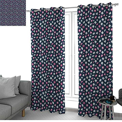 (NUOMANAN Curtains Diamonds,Round Marquise Square and Heart Shaped Crystals with Ruby Arrangement,Dark Blue Pink Pearl,Treatments Thermal Insulated Light Blocking Drapes Back for Bedroom 54