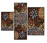 3-piece Floral Rectangle Nylon Machine-Made Contains Latex Non Skid Backing Cleopatra Printed Area Rugs Set
