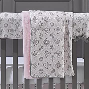 053662d546 Amazon.com  Liz and Roo Bella Damask (Pink and Gray) Minky Receiving Blanket   Baby