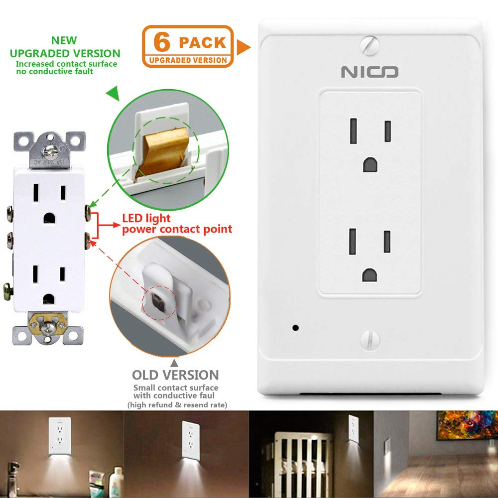 6 PACK Wall Outlet Cover Plate With LED Night Lights Upgraded version Automatic light sensor switch Night Light(Square,White Light)
