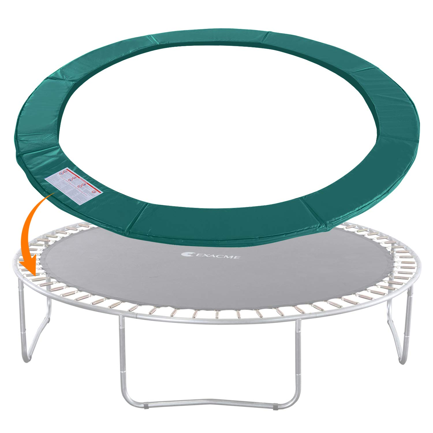 Exacme Trampoline Replacement Safety Pad Round Spring Cover, No Slots (Green, 14 Foot)