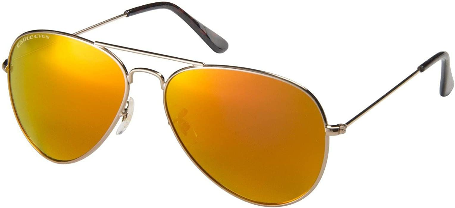 c04415da17 Amazon.com  Eagle Eyes Mirrored Polarized Sunglasses - Celebrity Classic Aviator  Sunglasses