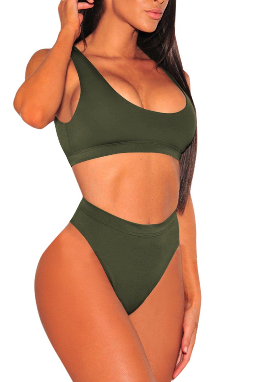 KAKALOT Women's Sexy Scoop Neck Crop Top with High Cut Bikini Bottom Sets Beachwear L Army Green by KAKALOT (Image #2)
