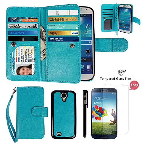 Case for Samsung S4,xhorizon TM FLK Premium Leather Folio Wallet Magnetic Wristlet Soft Flip Multiple Card Slots Case for Samsung Galaxy S4 i9500 with a 9H 0.25mm Tempered Glass Screen Protector
