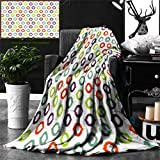 Ralahome Unique Custom Double Sides Print Flannel Blankets Ikat Decor Collection Colorful Round Ikat Design Traditional Exotic Asian Islamic Super Soft Blanketry Bed Couch, Twin Size 70 x 60 Inches