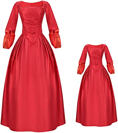 MIAOCOS Family Matching Outfits Mommy and Me Hamilton Dresses Costume Victorian Dress Ball Skirt Vintage Medieval Cosplay