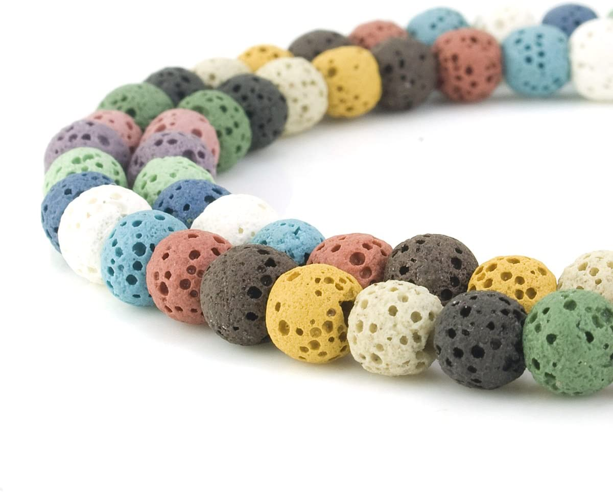 6mm x 1 Strand, White BEADNOVA 6mm Color Lava Gemstone Beads Energy Stone Healing Power Loose Beads for Jewelry Making 63~65pcs