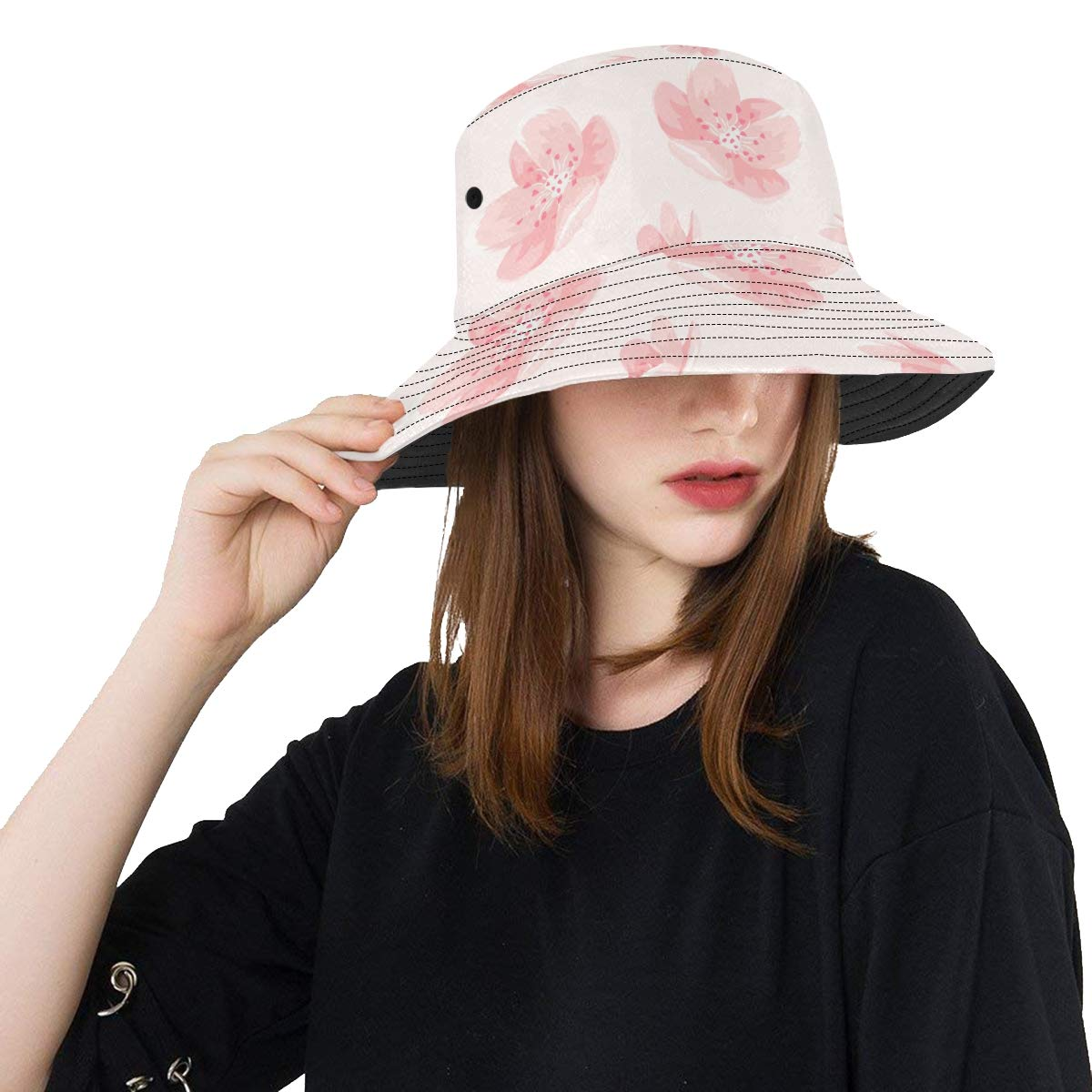 Pink Cheery Blossom Sakura Flower New Summer Unisex Cotton Fashion Fishing Sun Bucket Hats for Kid Teens Women and Men with Customize Top Packable Fisherman Cap for Outdoor Travel