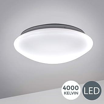 BK Licht plafonnier LED spécial salle de bain, lumière blanche neutre 4000  Kelvin, platine LED 12W, protection contre les projections d\'eau IP44, ...
