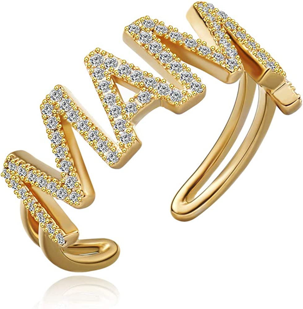 18K Gold Plated Adjustable Rapper Ring Cubic Zirconia Statement Ring Inspirational Gift for Women&Men with a Fine Gift Box