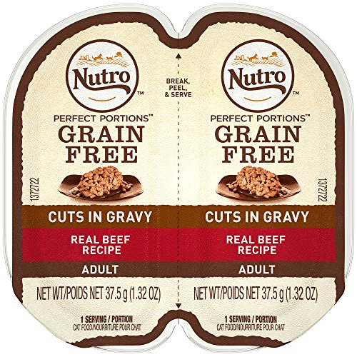 NUTRO PERFECT PORTIONS Cuts in Gravy Real Beef Wet Cat Food Trays 2.65 Ounces (24 Twin Packs)