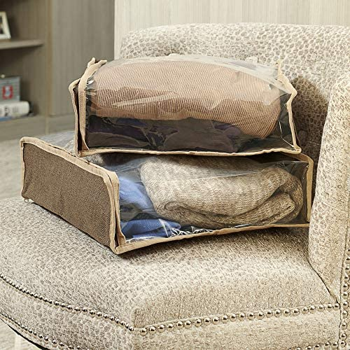 Household Essentials 66612 Sweater Storage Bags | Set of 2 | Coffee Linen,Brown/Clear