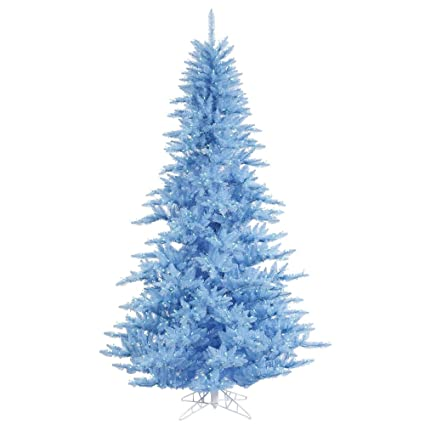 vickerman 75 sky blue fir artificial christmas tree with 750 blue lights - Christmas Tree With Blue Lights