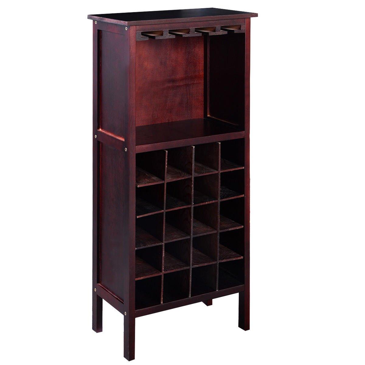 New Wine Wooden Cabinet Bottle Holder Storage Kitchen Home Bar w/ Glass Rack by Unknown (Image #4)