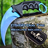 CSGO Karambit Hawkbill Talon Soul Full Tang Fixed Blade Neck Knife w/ABS Sheath – (Limited Edition) INCLUDES FREE CS:GO Dog Tag Necklace (Blue Fade) For Sale