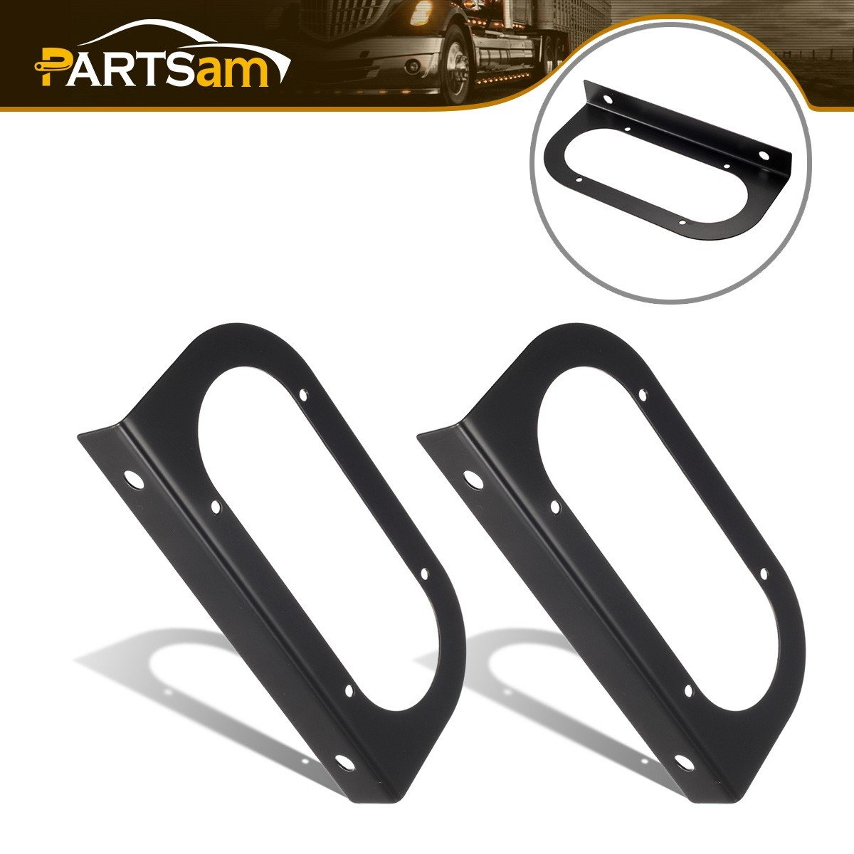 Partsam 8pc Black Mounting Brackets for 6' Oval Light, Powder Coated, Truck Trailer RV Boat