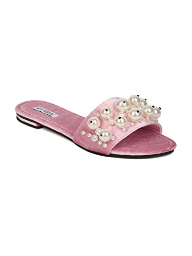 5c1b3efa6681 CAPE ROBBIN Women Velvet Open Toe Faux Pearl Slip On Sandal GH30 - Pink  (Size
