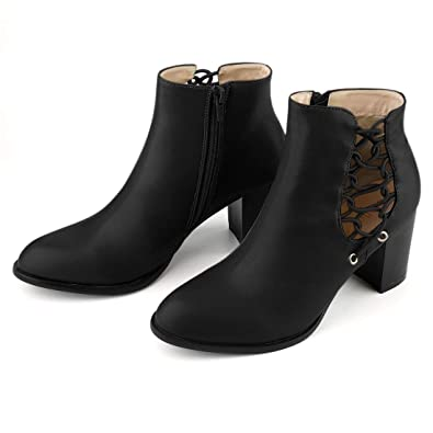 b19f475fe8b Amazon.com | Allegra K Women's Cutout Ankle Boots | Ankle & Bootie