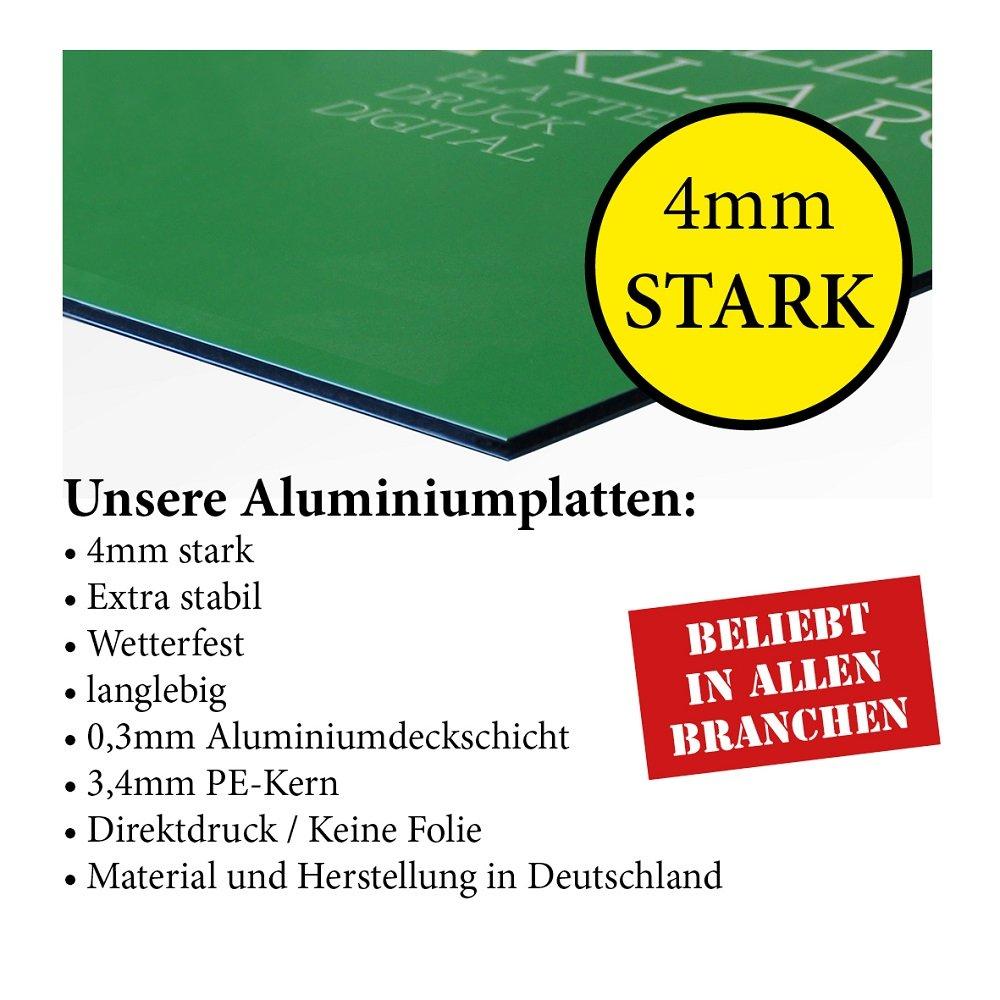 Querformat 300 x 200 mm G/äste-Parkplatz ohne Bohrung Direktdruck auf 4 mm AluDibond