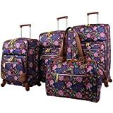 Lily Bloom Luggage Set 4 Piece Suitcase Collection With Spinner Wheels For Woman (Rake It In Black)