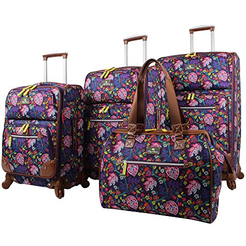 Lily Bloom Luggage Set 4 Piece Suitcase Collection With Spinner Wheels For Woman (Rake It In (Fully Lined Carry On)
