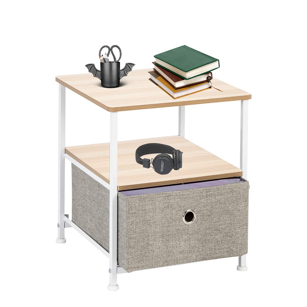 Teeker Nightstand 1-Drawer Shelf Storage- Bedside Furniture & Accent End Table Chest for Home, Bedroom, Office, College Dorm, Steel Frame, Wood Top, Easy Pull Fabric Bins (Linen/Natural) by Teeker