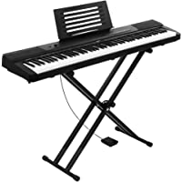 Alpha 88 Keys Electronic Piano Keyboard Electric Digital Piano with Holder Music Stand Touch Sensitive Sustain Pedal