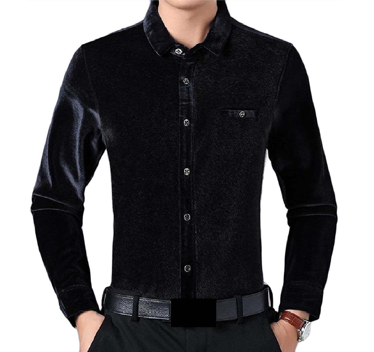 SportsX Mens Thickened Formal Premium Flannel Soft Warm Work Shirt