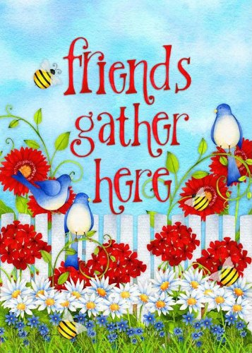 """Friends Gather Here"" Large Spring Summer Flag with Flowers,"