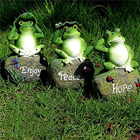 CoolPlus Frog Garden Decor Statue Outdoor Patio Ornaments Yard Decorations Art Figurines Perfect