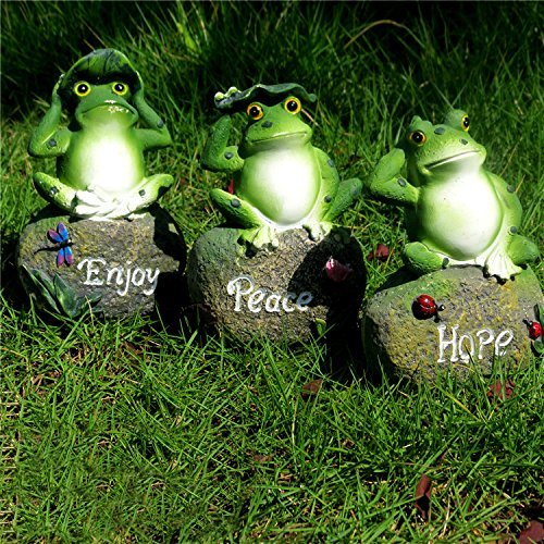 CoolPlus Frog Garden Decor Statue, Outdoor Patio Ornaments, Yard Decorations Art Figurines, Perfect for the Lawn Balcony Desk, A Set of 3, Enjoy Hope Peace [Original Design & Genuine Products]