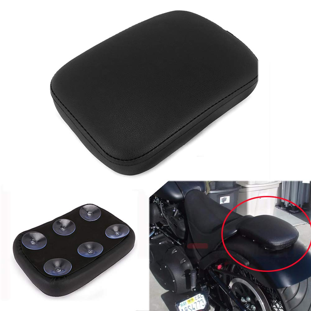 JFG RACING Motorbike Pillion Cushion Pad With 6 Suction Cup Rear Solo Seat Passenger Saddle For Harley Custom Chopper Cruiser XL883 XL1200 X48 X72