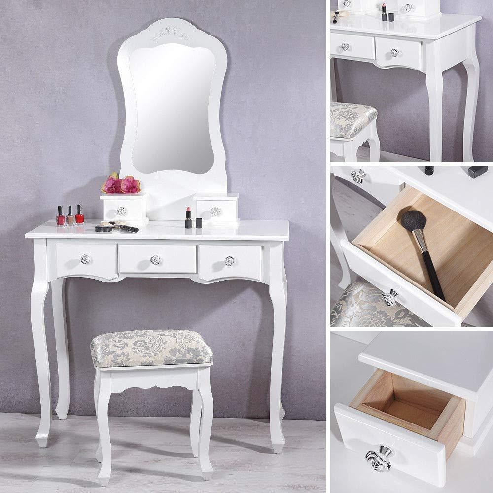 DOMTECH Comodino per la vostra camera da letto tavolino in legno comodino piccolo armadio con cassetti scaffale per lampade credenza bianco bianco camera da letto
