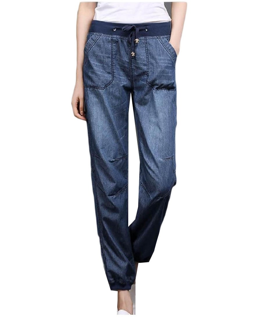 Doufine Women Bloomers Harem Elastic Waist Washed Relaxed-Fit Jeans Pants Dark Blue L