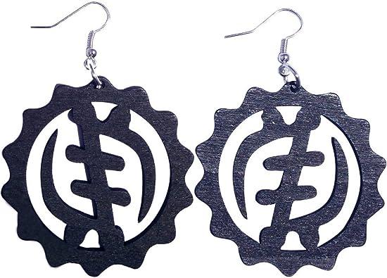 GYE NYAME Pendientes/pelo natural/Adinkra Símbolo Pendientes/de madera africana Jewelry: Amazon.es: Joyería