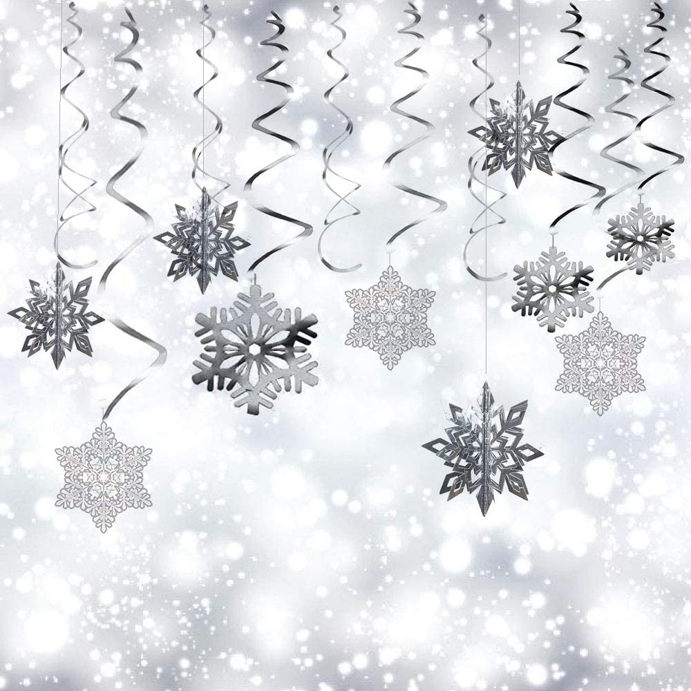 Christmas Party Decorations, 36Pcs Christmas Snowflake Hanging Swirl Decorations for Xmas Winter Wonderland Holiday Party Decor Supplies