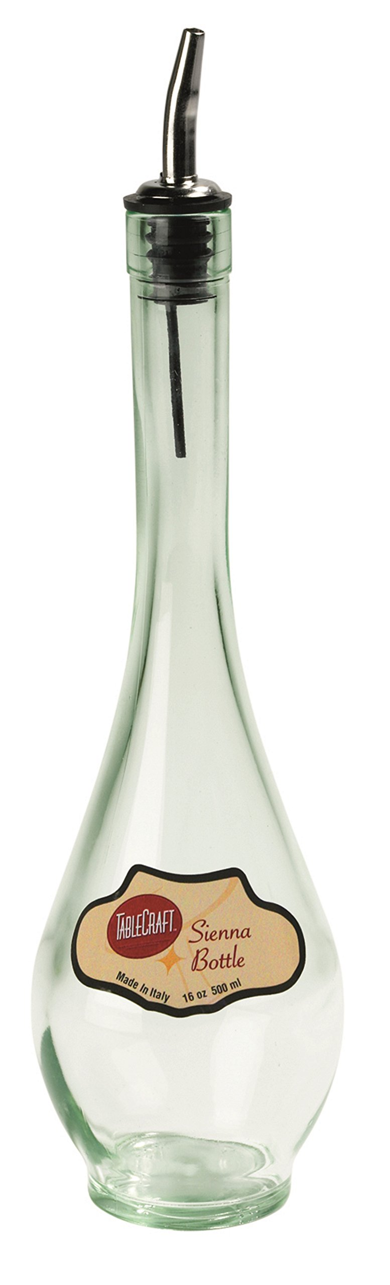 TableCraft H931M 16-Ounce Green Tinted Glass Bottle with Stainless Steel Pourer