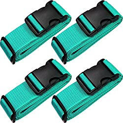 "TRANVERS Universal Luggage Strap For Suitcase 16~32"" With ID Function 4-Pack Lake Blue"
