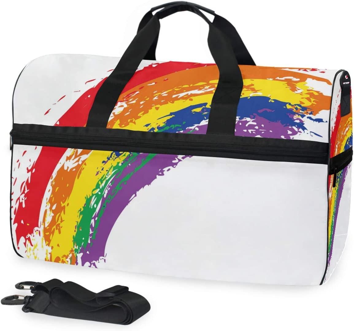 FANTAZIO Painted Rainbow Sports Bag Packable Travel Duffle Bag Lightweight Water Resistant Tear Resistant