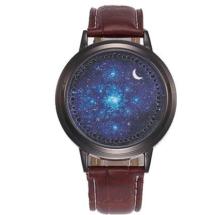 Vovotrade Relojes Moda LED Starry Sky Moon Casual Relojes de Moda de Cuarzo Analógico Banda de