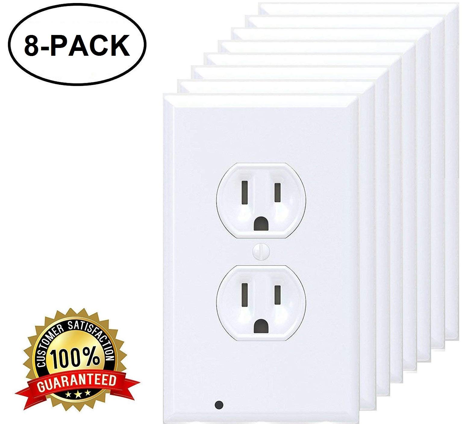 GuideLight LED Night Light Wall Outlet Cover Plate - FOR DUPLEX ELECTRICAL OUTLETS (8 pack)