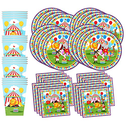 Little Circus Carnival Birthday Party Supplies Set Plates Napkins Cups Tableware Kit for 16