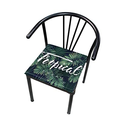 """Bardic HNTGHX Outdoor/Indoor Chair Cushion Plant Tropical Leaf Square Memory Foam Seat Pads Cushion for Patio Dining, 16"""" x 16"""": Home & Kitchen"""