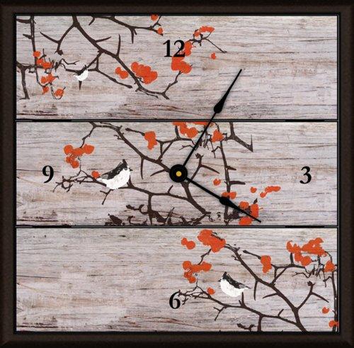 Green Leaf Art Art Clock, Large, Fall Tree and Birds