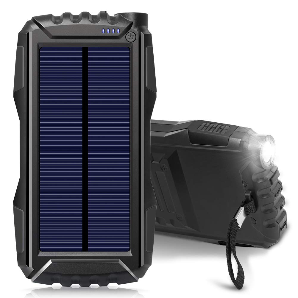 Solar Charger, Zonhood 25000mAh Power Bank Solar Phone Charger, Portable External Battery Pack with Dual USB Ports and LED Light Shockproof/Dustproof for Smartphones and More (N-Black)