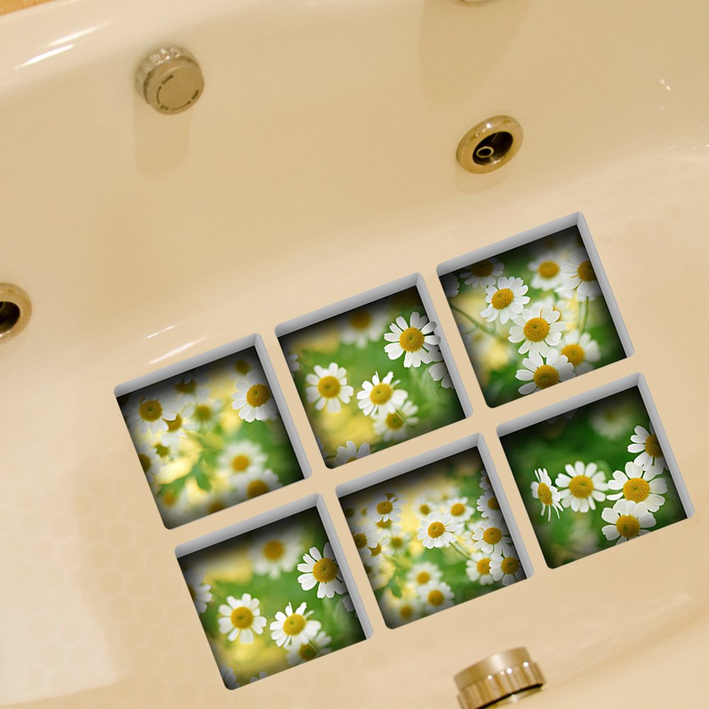 VANCORE 6 Pcs 3D Bathtub Stickers Non-slip Decals Tub Tattoos (Flower)