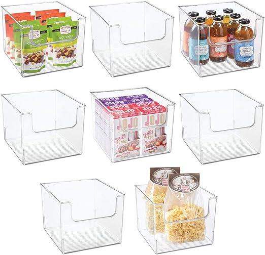 mDesign Juego de 8 Cajas de Almacenamiento de Alimentos – Organizador de frigorífico con Frontal Abierto para Nevera, Armario o congelador – Caja de plástico Libre de BPA – Transparente: Amazon.es: Hogar
